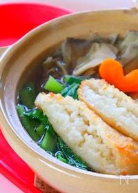 『【きりたんぽ鍋】もちもちごはんと野菜の出汁が美味しい和風鍋』
