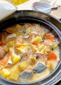 『コクと旨味が濃い♡石狩鍋風北海道ミルクバター鍋』