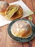 『カスタードパウダーで簡単♡』紅茶生地のざくざくクリームパン