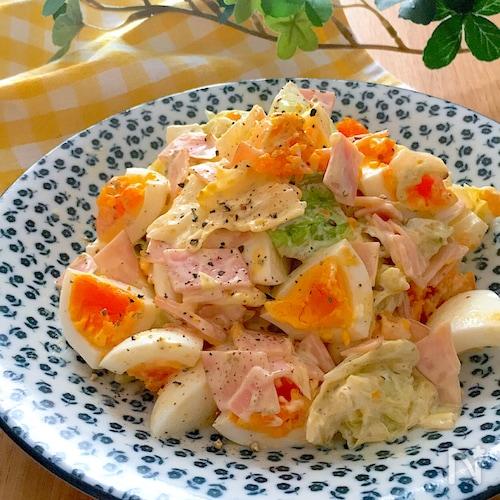 彩りもよくて映える・美味しい配合♡キャベツと卵とハムのサラダ