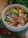 *青梗菜と豚こまの酸辣湯風スープ*