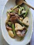 豚肉と筍とアスパラの酢と昆布白だしのサッパリうま煮
