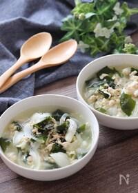 『フライパンで簡単5分♡鶏ひき肉と新玉ねぎの食べるスープ』