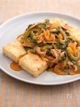 豆腐ステーキ 豚キムゴーヤあんかけ。