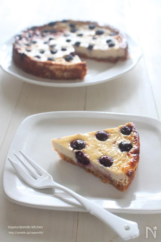 白い皿に盛られたブルーベリーのベイクドチーズケーキ、フォーク