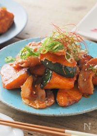 『ご飯どろぼう。豚バラとかぼちゃのコチュジャン炒め【大量消費】』