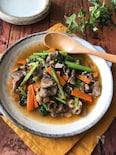 牛肉と小松菜の中華とろみ炒め