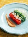 牛乳パックで!カニカマと夏野菜のテリーヌ(ゼリー寄せ)