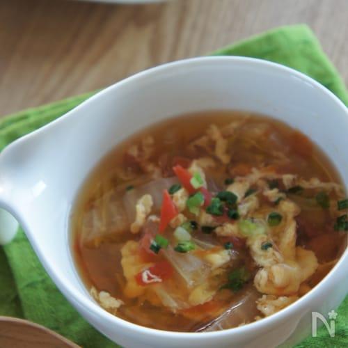 白菜とトマトで作るかんたん♪優しいスープ