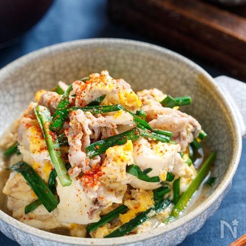ニラ玉肉豆腐【#簡単 #レンジ #包丁不要 #水切り不要】