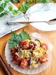 トマトとツナとねぎの塩昆布和え