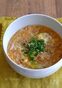 『受験生のお夜食にも!鶏ひき肉と卵のとろーり春雨スープ』