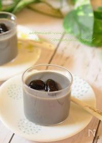 『黒豆の煮汁活用☆豆乳プリン♪』