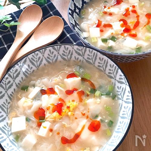5分でできる♡ふわふわ豆腐とトゥルンワンタンの食べる酸辣湯