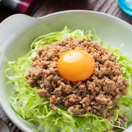 ピリ辛♡肉味噌キャベツ丼【#冷凍保存#レンジ#ランチ】
