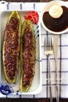 ゴーヤの肉詰めボート・お好み焼き味。