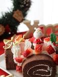 市販のロールケーキで簡単可愛い!ストライプブッシュドノエル