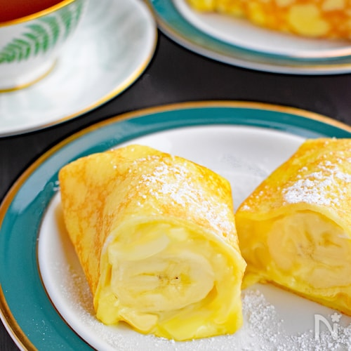 完熟バナナのカスタードクレープ