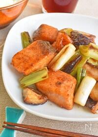 『【簡単】鮭とねぎのバターポン酢炒め』