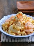 むき海老とゆで卵とマカロニのハニーマスタードマヨサラダ