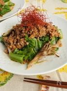 青菜と舞茸のひき肉炒め