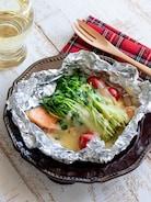 鮭と豆苗のチーズ♪ホイル焼き