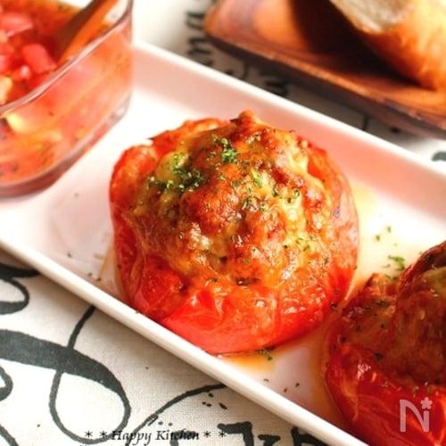超おすすめ*絶品!カップトマトのジューシー挽き肉チーズ焼き