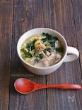 豆もやしと豚こまの卵ワカメスープ