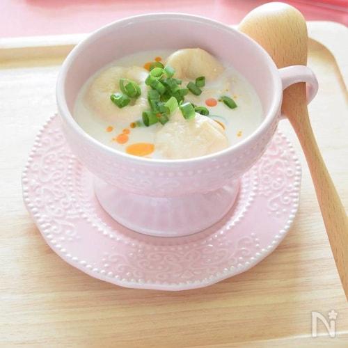 無調整豆乳とお麩のモーニングスープ<1分動画付きレシピ>