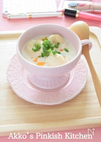 『無調整豆乳とお麩のモーニングスープ<1分動画付きレシピ>』