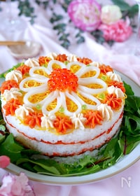 『【めんたいチューブで美味しくかわいく♡寿司ケーキ】』