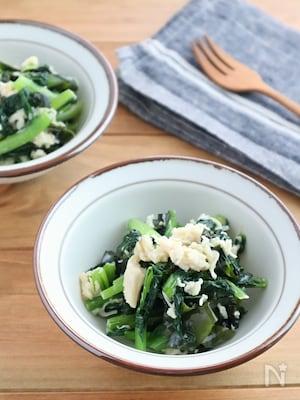 レンジで簡単!小松菜とホタテのわかめサラダ