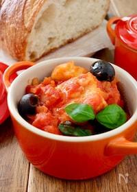 『フライパンで*メカジキとじゃが芋のトマト煮込み』