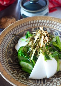 『ポリ袋で簡単すぐ食べられる!かぶときゅうりの塩昆布漬け』