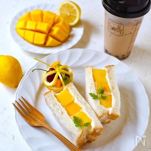 チーズクリーム・マンゴーサンド【カフェ風・マンゴー切り方】