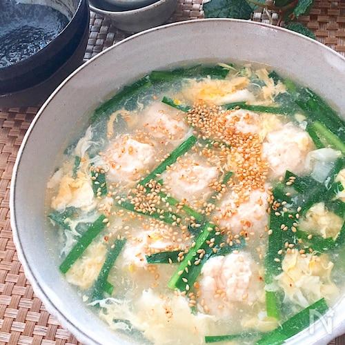身体ポカポカ・ヘルシー♡ふわふわにら玉とり団子とろみスープ