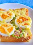 ゆで卵のせ♪ピザトースト