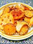 レンコンとさつま芋のガーリック甘辛炒め