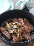 牛ステーキと舞茸の醤油炒め