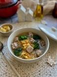 豚のこま切れ肉でなんちゃって肉団子の春雨白菜スープ