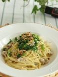 挽き肉とわさび菜のパスタ ゆず胡椒風味