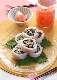 『新生姜すし飯の華やか巻き寿司』