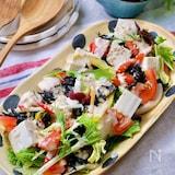 『ひじきとトマトと水菜のデリ風サラダ』豆乳胡麻クリームドレ♪