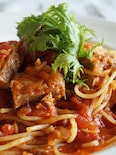鯖のトマトソースパスタ