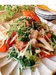 簡単・あと一品☆トマトと水菜とキノコの白だしあえ