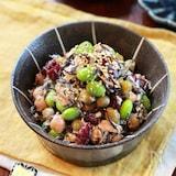 【ひじきとお豆の胡麻マヨサラダ】ホクッとお豆にごま風味♬︎
