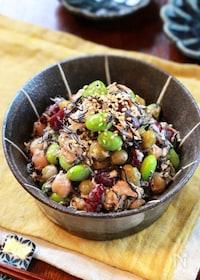 『【ひじきとお豆の胡麻マヨサラダ】ホクッとお豆にごま風味♬︎』