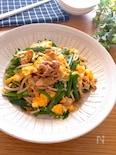 お野菜たっぷり♡豚ニラもやしとふわふわ卵のコチュマヨソテー