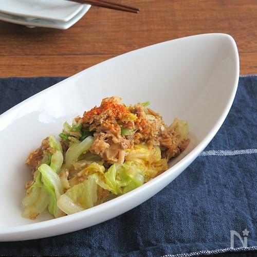 簡単☆白菜とさば缶のピリ辛七味ごま和え