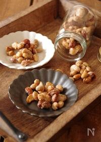 『とまらないおいしさ♪煎り大豆とナッツのかりかりメープルおかき』